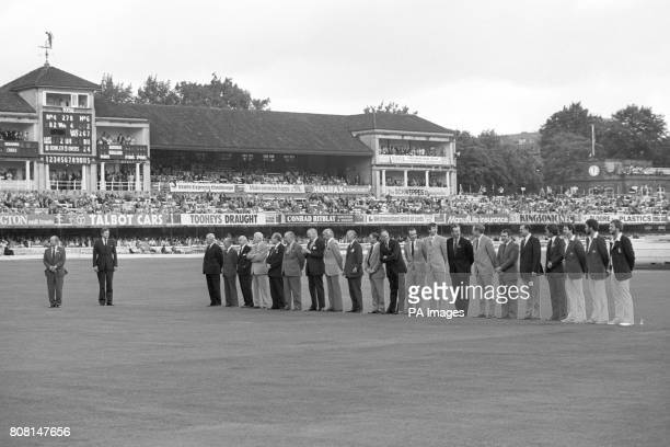 Lining up at Lord's captains of England and Australia past and present Bob Wyatt Lindsay Hasset Gubby Allen Cyril Walters Arthur Morris Norman...