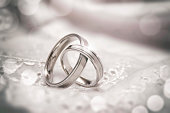 Two silver wedding rings linked together
