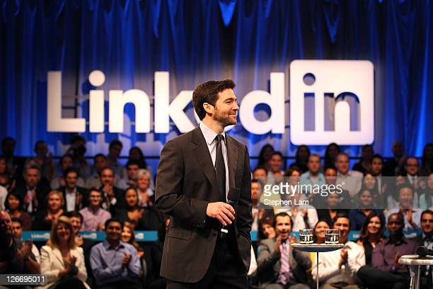 Linkedin CEO Jeff Weiner speaks to the audience prior to a town hall meeting with US President Barack Obama at the Computer History Museum on...