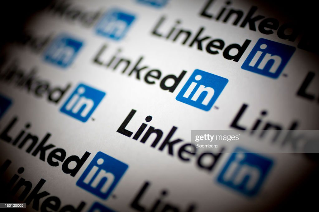 LinkedIn Corp. logos are arranged for a photograph in Washington, D.C., U.S., on Monday, Oct. 28, 2013. LinkedIn Corp. is expected to release earnings figures on Oct. 29. Photographer: Andrew Harrer/Bloomberg via Getty Images