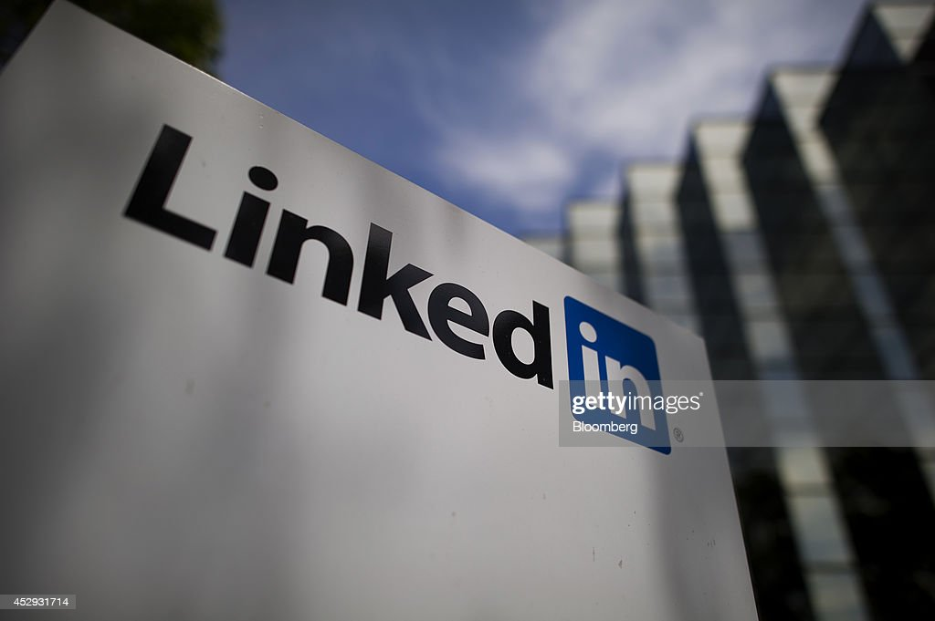 LinkedIn Corp. signage is displayed outside the company's headquarters in Mountain View, California, U.S., on Monday, July 28, 2014. LinkedIn Corp. is scheduled to release earnings figures on July 31. Photographer: David Paul Morris/Bloomberg via Getty Images