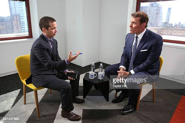 LinkedIn Executive Editor Daniel Roth interviews Tony Robbins as part of the 'LinkedIn Presents' series at The Empire State Building on October 5...