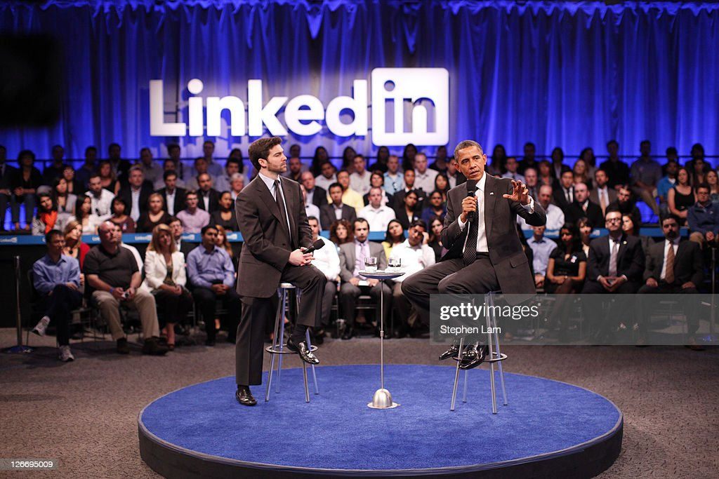 LinkenIn Corp CEO Jeff Weiner (L), and U.S. President Barack Obama, (R), field a question from the audience during town hall meeting hosted by Linkedin Corp. at the Computer History Museum on September 26, 2011 in Mountain View, California. The president used the opportunity to share his view on job creation and the current economy.