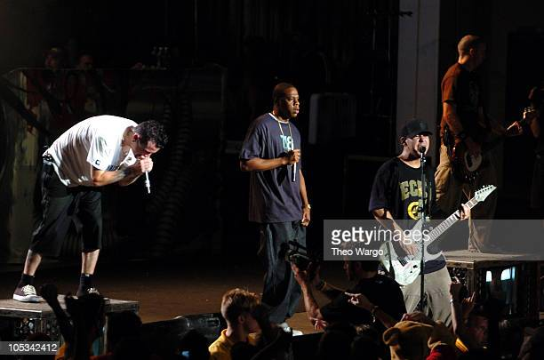 Linkin Park and JayZ during Linkin Park's 'Projekt Revolution 2004' July 30 2004 at PNC Bank Arts Center in Holmdel New Jersey United States