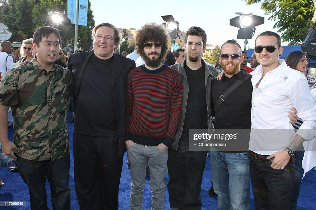 Linkin Park and Producer Lorenzo Di Bonaventura during DreamWorks Pictures and Paramount Pictures Los Angeles Premiere of 'Transformers' at Mann's...