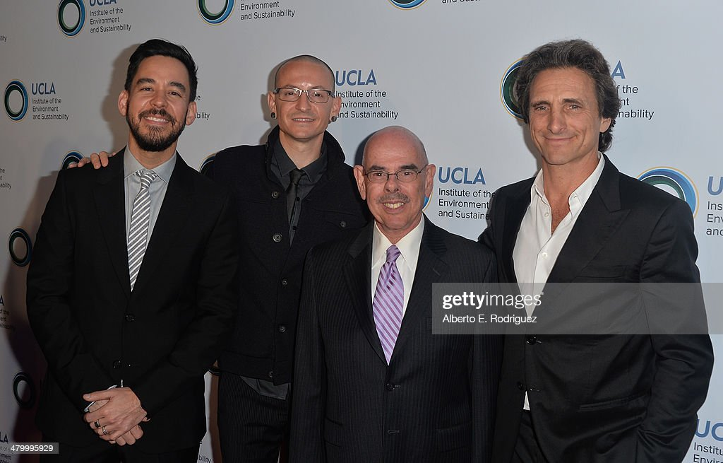 Linkin Park band members Mike Shinoda, Chester Bennington, U.S. Representative Henry Waxman and producer Lawrence Bender attend An Evening of Environmental Excellence presented by the UCLA Institute of the Environment and Sustainability on March 21, 2014 in Beverly Hills, California.