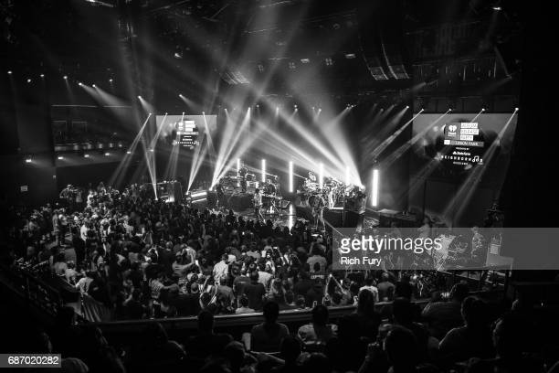 Linkin Park performs on stage at the iHeartRadio Album Release Party presented by State Farm at the iHeartRadio Theater Los Angeles on May 22 2017 in...