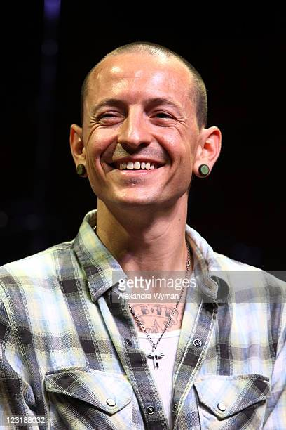 Linkin Park singer Chester Bennington at Linkin Park's Tsunami Relief Fundraiser For Japan Press Conference held at The Mayan on August 31 2011 in...