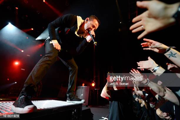 Linkin Park singer Chester Bennington performs at PH Live at Planet Hollywood Resort Casino as the band tours in support of the album 'Living Things'...
