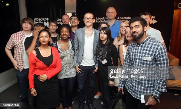 Linkin Park's Chester Bennington after a question and answer session at Absolute Radio in LOndonto mark the release of their new album 'Living Things'