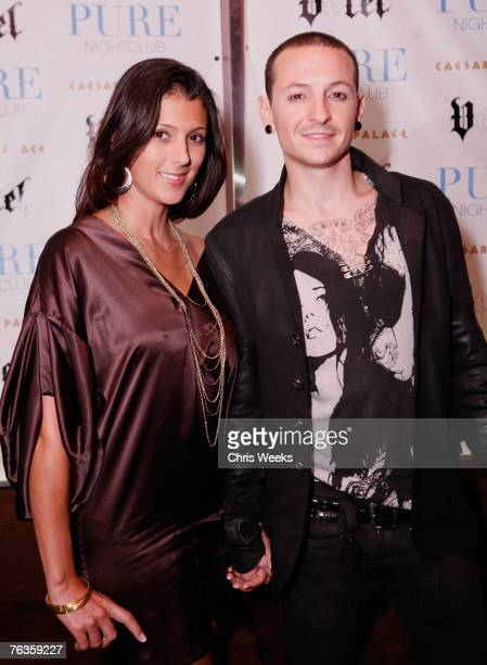 Linkin Park's Chester Bennington and his wife attend the launch of Ve'Cel Clothing Line at PURE Nightclub on August 27 2007 in Las Vegas Nevada