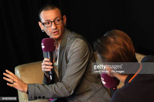 Linkin Park's Chester Bennington with Absolute Radio's Pete Donaldson during a question and answer session to mark the release of their new album...