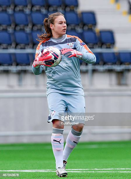 Linkopings FC's goalkeeper Kathlynn Fraine in action during the UEFA Women's Champions League quarterfinal match between Linkopings FC and Brondby IF...