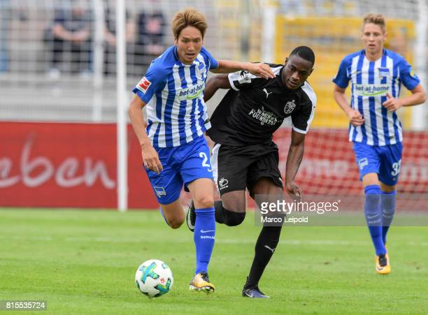 Links im Bild Genki Haraguchi of Hertha BSC during the test match between CarlZeiss Jena and Hertha BSC on july 16 2017 in Jena Germany
