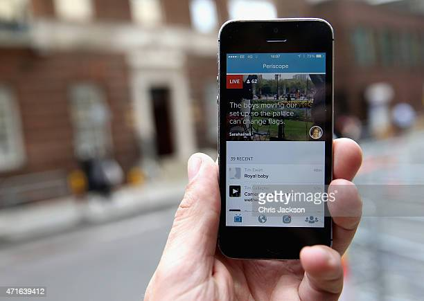 Links to clips related to the new royal baby are seen on the app Periscope at the Lindo wing as the World's media wait for Catherine Duchess of...