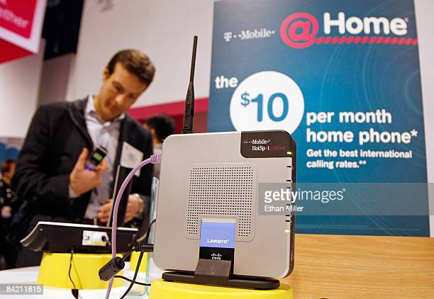 Linksys router is displayed at the TMobile booth at the 2009 International Consumer Electronics Show at the Las Vegas Convention Center January 8...