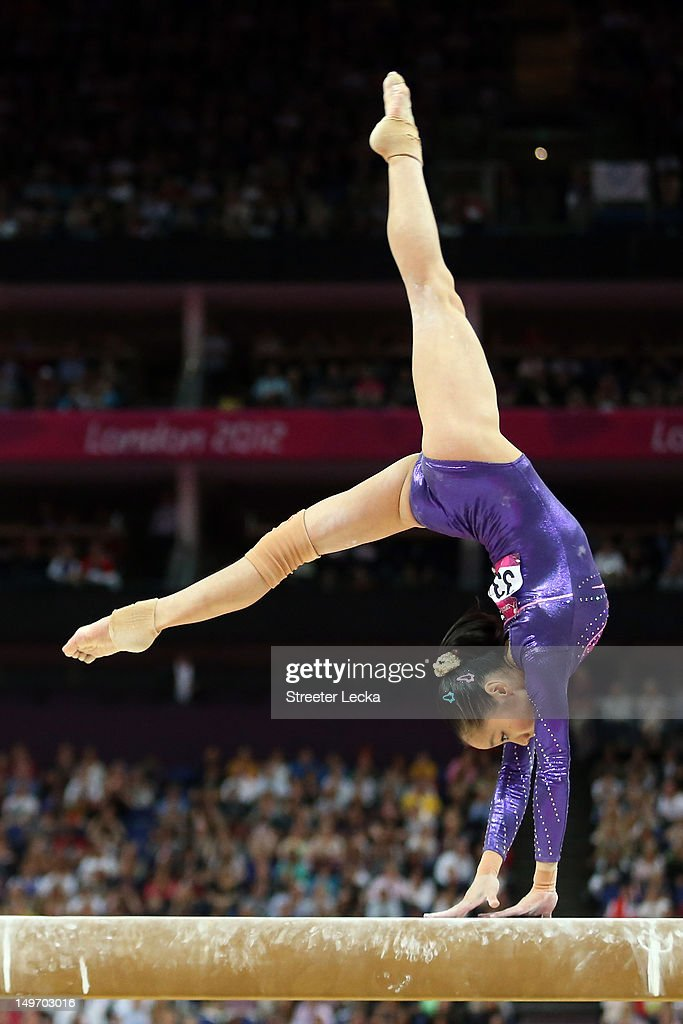 Linlin Deng of China competes on the balance beam in the Artistic Gymnastics Women's Individual AllAround final on Day 6 of the London 2012 Olympic...