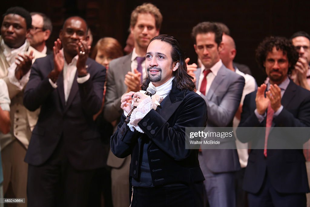 Lin-Manuel Miranda and creative team during the Broadway opening night performance of 'Hamilton' at the Richard Rodgers Theatre on August 6, 2015 in New York City.