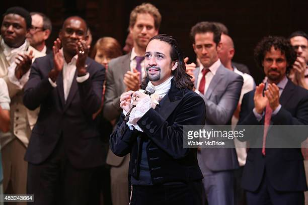 LinManuel Miranda and creative team during the Broadway opening night performance of 'Hamilton' at the Richard Rodgers Theatre on August 6 2015 in...