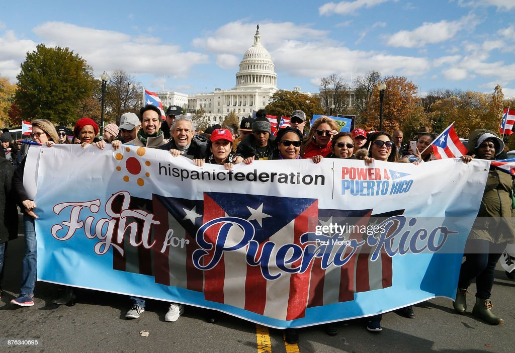 Lin-Manuel Miranda Attends A Unity March For Puerto Rico
