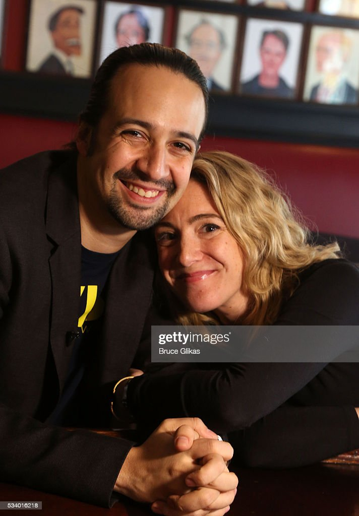 Lin-Manuel Miranda and Playbill Editor-in-Chief Blake Ross pose as Miranda is honored for his work in 'Hamilton' with a Sardi's Caricature at Sardi's on May 24, 2016 in New York City.