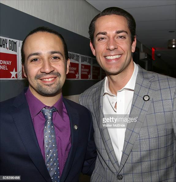 LinManuel Miranda and Zachary Levi during the 2016 Tony Awards Meet The Nominees Press Reception at the Paramount Hotel on May 4 2016 in New York City