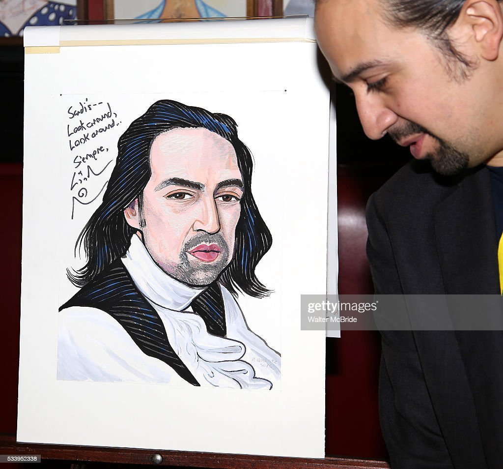 <a gi-track='captionPersonalityLinkClicked' href=/galleries/search?phrase=Lin-Manuel+Miranda&family=editorial&specificpeople=4190598 ng-click='$event.stopPropagation()'>Lin-Manuel Miranda</a> attends the <a gi-track='captionPersonalityLinkClicked' href=/galleries/search?phrase=Lin-Manuel+Miranda&family=editorial&specificpeople=4190598 ng-click='$event.stopPropagation()'>Lin-Manuel Miranda</a> 'Hamilton' Sardi's Portrait unveiling at Sardi's on May 19, 2016 in New York City.