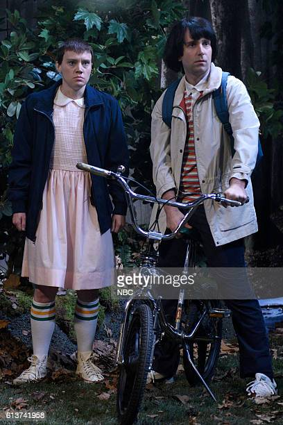 LIVE 'LinManuel Miranda' Episode 1706 Pictured Kate McKinnon as Eleven and Kyle Mooney as Mike during the 'Stranger Things' sketch on October 8 2016
