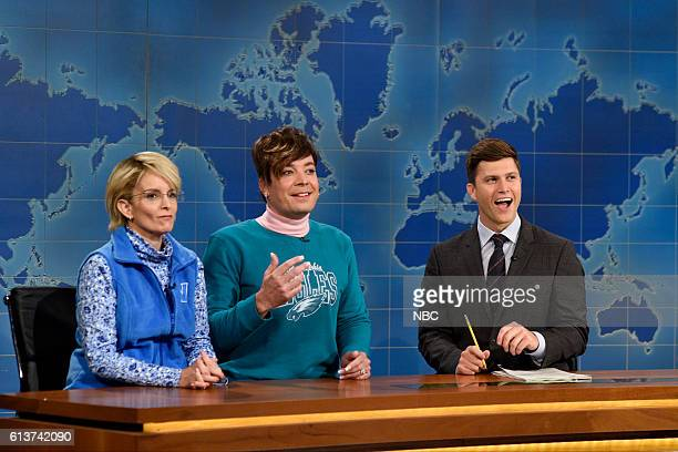 LIVE 'LinManuel Miranda' Episode 1706 Pictured Tina Fey as Denise McDonough Jimmy Fallon as Doreen Troilo and Colin Jost during Weekend Update on...