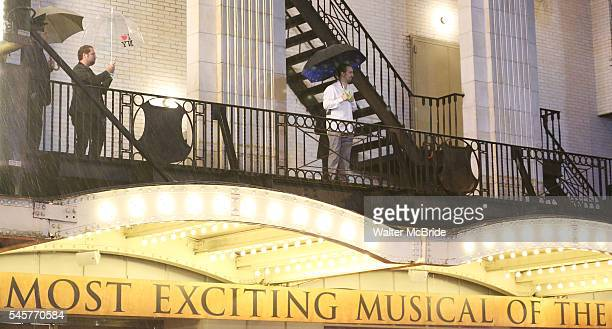 LinManuel Miranda greets fans in the rain after his final performance of 'Hamilton' on Broadway at Richard Rodgers Theatre on July 9 2016 in New York...