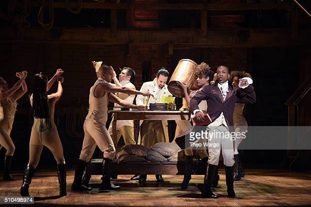 LinManuel Miranda Leslie Odom Jr and Jon Rua perform on stage during 'Hamilton' GRAMMY performance for The 58th GRAMMY Awards at Richard Rodgers...
