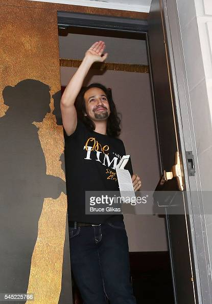 LinManuel Miranda makes his Farewell 'Ham4Ham' performance at 'Hamilton on Broadway Lottery at The Richard Rogers Theatre on July 6 2016 in New York...