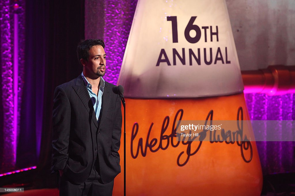 Lin-Manuel Miranda presents an award at the 16th Annual Webby Awards at Hammerstein Ballroom on May 21, 2012 in New York City.