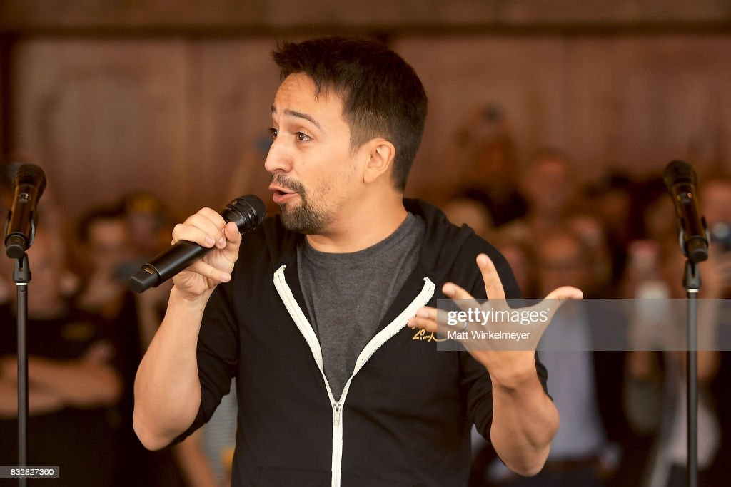 Lin-Manuel Miranda speaks onstage during the #Ham4Ham featuring Lin-Manuel Miranda at the Pantages Theatre on August 16, 2017 in Hollywood, California.