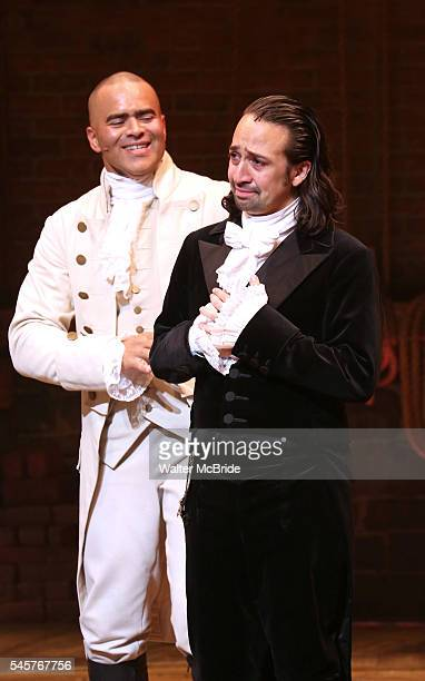 LinManuel Miranda with Christopher Jackson during his final performance curtain call in 'Hamilton' on Broadway at Richard Rodgers Theatre on July 9...
