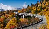 Linn Cove Viaduct is a 1,243-foot concrete segmental bridge which connects the Blue Ridge Parkway around tGrandfather Mountain in North Carolina