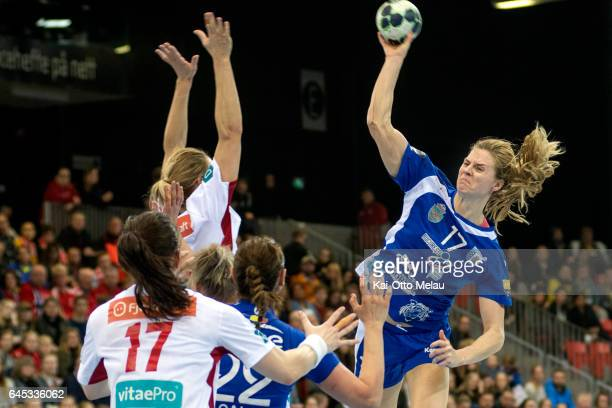 Linnea Torstensson jumps high to shoot in the Women's EHF Champions league match between Larvik HK and CSM Bucuresti on February 25 2017 in Larvik...