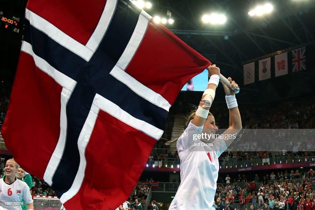 Linn-Kristin Riegelhuth Koren #18 of Norway celebrates after winning the gold medal against Montenegro in the Women's Handball Final Match on Day 15 of the London 2012 Olympics Games at Basketball Arena on August 11, 2012 in London, England.