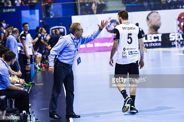Lino Cervar Coach and Stefan Drogrishki of Metalurg during the Champions League between Montpellier and Skopje Metalurg at Arena de Montpellier on...