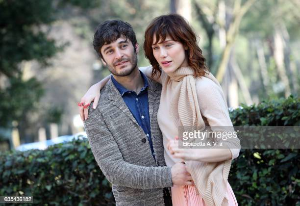 Lino Guanciale and Gabriella Pession attend a photocall for 'La Porta Rossa' fiction Rai at Villa Borghese on February 15 2017 in Rome Italy