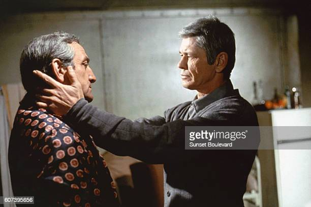 Lino Ventura and Charles Bronson on the set of 'The Valachi Papers'