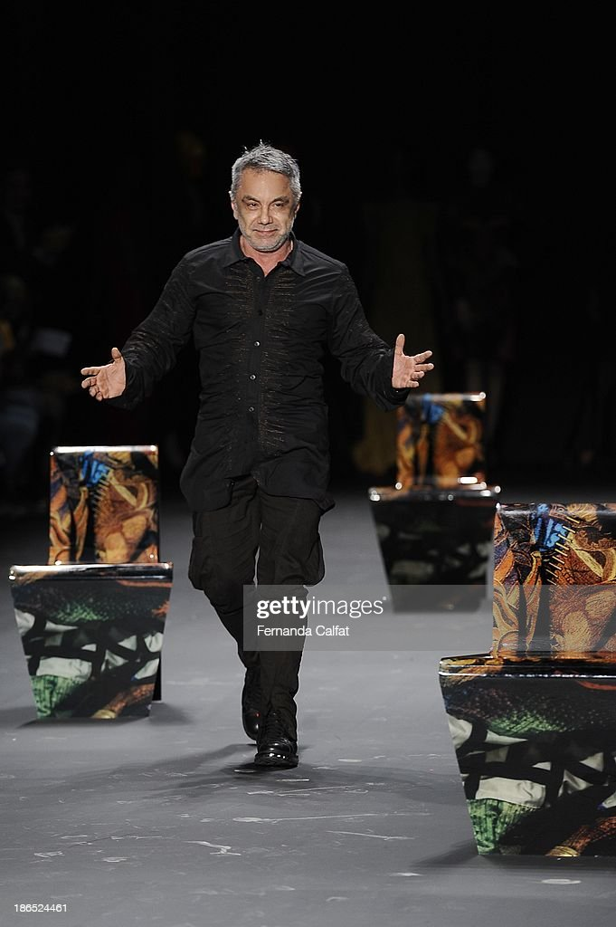 Lino Villaventura walks the runway during Lino Villaventura show at Sao Paulo Fashion Week Winter 2014 on October 31, 2013 in Sao Paulo, Brazil.