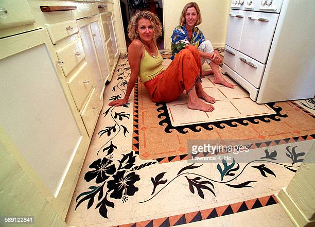 Linoleum as floor art Designer Laurie Croganwith home owner Cristi Walden