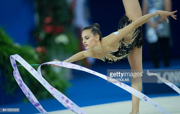 Linoy Ashram from Israel performs the ribbon exercise during the FIG 35th Rhytmic Gymnastic World Championship