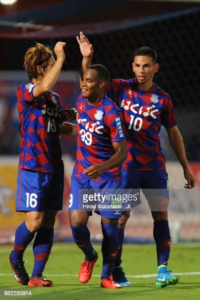 Lins of Ventforet Kofu cerebrates their third goal with his team mates during the JLeague J1 match between Ventforet Kofu and Yokohama FMarinos at...