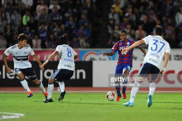 Lins of Ventforet Kofu takes on Yokohama FMarinos defense during the JLeague J1 match between Ventforet Kofu and Yokohama FMarinos at Yamanashi Chuo...