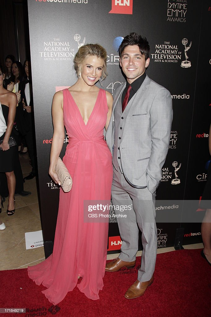 Linsey Godfrey of The Bold and The Beautiful with Robert Adamson of The Young and the Restless on the red carpet at THE 40TH ANNUAL DAYTIME ENTERTAINMENT EMMY AWARDS at THE BEVERLY HILTON in Los Angeles.