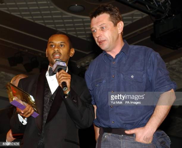 Linton Kwesi Johnson and Andy Kershaw with the Speech Award from their Radio 3 programme 'A Caribbean Night' at the Sony Radio Academy Awards 2002 at...