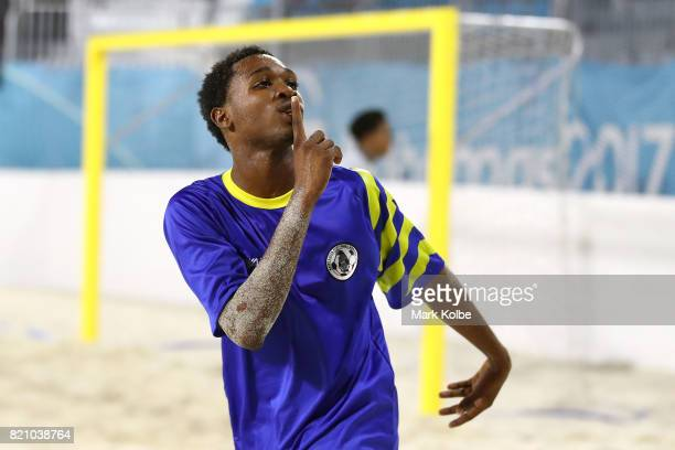 Linus Clovis of Saint Lucia celebrates scoring a goal during the boy's beach soccer gold medal final match between Saint Lucia and Trinidad Tobago on...