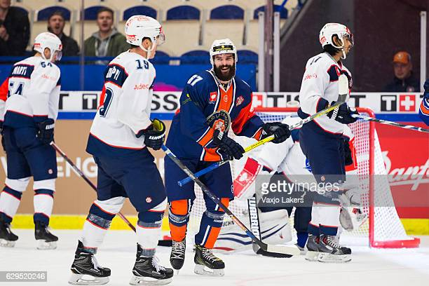 Linus Froberg of Vaxjo Lakers celebrates the goal by Calle Rosen of Vaxjo Lakers to 32 during the Champions Hockey League Quarter Final match between...